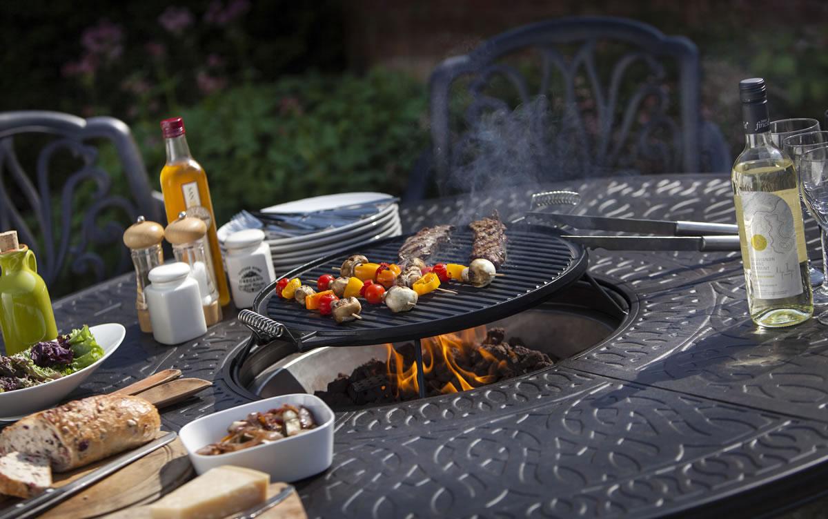 Amalfi Cast Aluminium 6 Seater Gas Grill Garden Dining Set