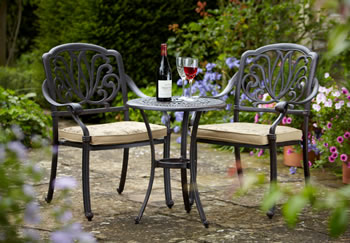 Image of Hartman Amalfi 2 Seater Bistro Set in Bronze with Floral Cushions