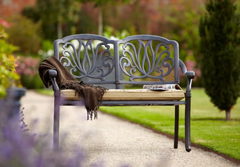 Image of Hartman Amalfi Bench in Bronze with Floral Cushion