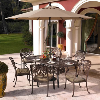 Image of Hartman Amalfi 6 Seater Oval Set in Bronze with Floral Cushions