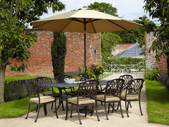Image of Hartman Amalfi 8 Seater Rectangular Set in Bronze WITHOUT PARASOL