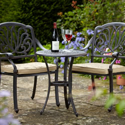 Small Image of Hartman Amalfi 2 Seater Bistro Set in Bronze with Floral Cushions