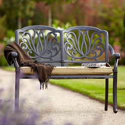 Small Image of Hartman Amalfi Bench in Bronze with Floral Cushion
