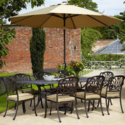 Small Image of Hartman Amalfi 8 Seater Rectangular Set in Bronze WITHOUT PARASOL