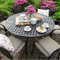 image of hartman berkeley 6 seater round furniture set in bronze effect - Garden Furniture 6 Seater Round