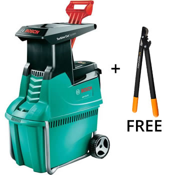 bosch 2500w quiet garden shredder free loppers axt 25tc 399 garden4less uk shop. Black Bedroom Furniture Sets. Home Design Ideas