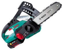 Image of Bosch AKE30 Li Cordless Chainsaw, Free Spare Chain, Gloves and Oil