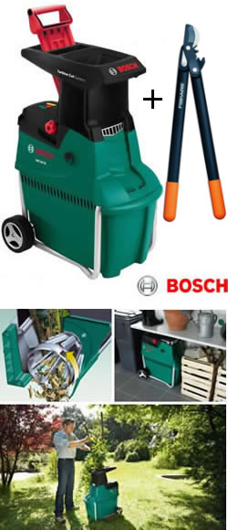 bosch garden shredder with free loppers 2500w quiet shredder axt 25tc at garden4less uk. Black Bedroom Furniture Sets. Home Design Ideas