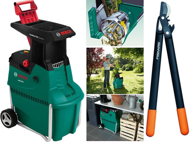 bosch garden shredder with free loppers 2500w quiet. Black Bedroom Furniture Sets. Home Design Ideas