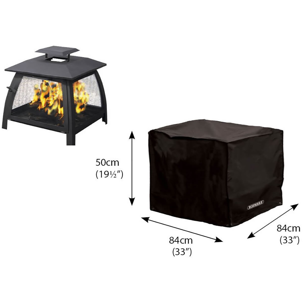 Extra image of Storm Black Large Fire Pit Cover