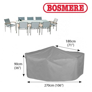 Small Image of Bosmere Thunder Grey Rectangular 6 Seater Cover - U530