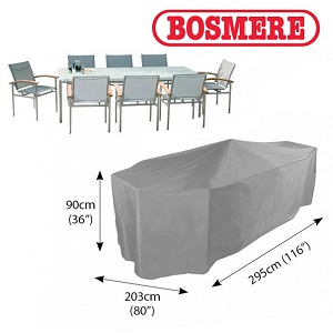 Small Image of Bosmere Thunder Grey Rectangular 8 Seater Furniture Cover - U535