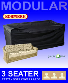 Image of Large Rattan Modular 3 Seater Sofa Cover - Bosmere M690