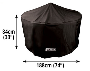 Image of Storm Black 4 to 6 Seater Circular Patio Set Cover