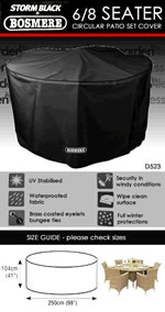 Small Image of Storm Black 6 to 8 Seater Circular Furniture Set Cover