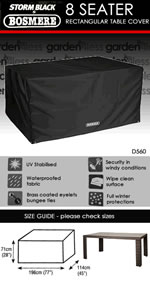 Storm Black Rectangular 8 Seater Table Only Cover