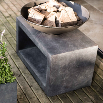 Image of Firefly Fire Bowl and Table Console Rectangle - Cement Grey