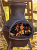 Lisbon Black Cast Iron Garden Chimenea by La Hacienda