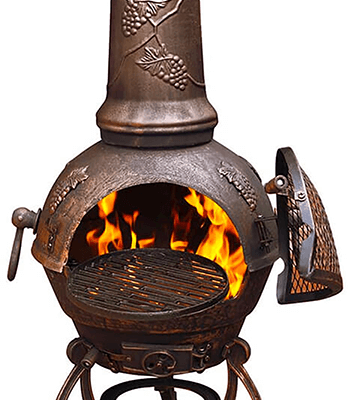 Image of Large Toledo Bronze Grape Cast Iron Chiminea Fireplace with BBQ grill