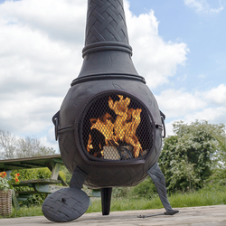 Small Image of Mega Cast Iron Chimenea in Black Weave Pattern Design by La Hacienda