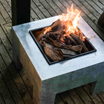 Image of Firefly Fire Bowl and Table Console Square - Cement Grey