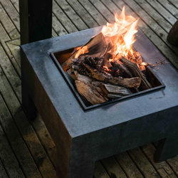 Small Image of Firefly Fire Bowl and Table Console Square - Granite Black