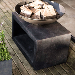 Small Image of Firefly Fire Bowl and Table Console Rectangle - Granite Black