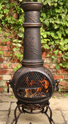 Extra Large Toledo Bronze Grape Cast Iron Chimenea with Grill by Gardeco
