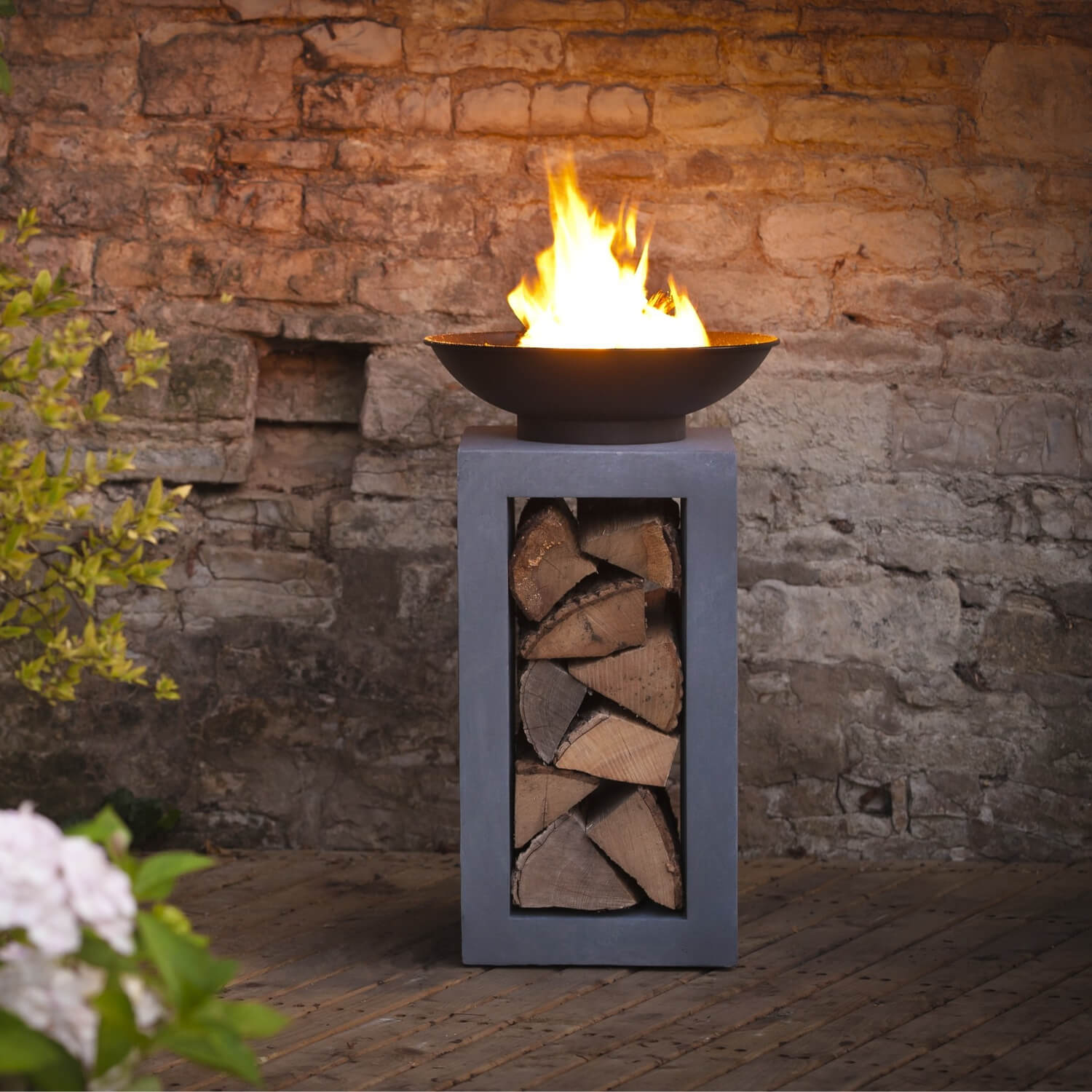 Firefly Fire Bowl and Tall Table Console Square - Granite ...