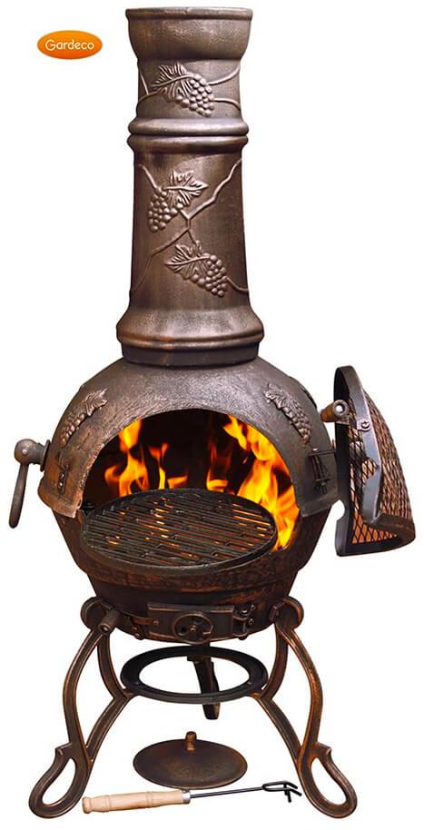 Large Toledo Bronze Grape Cast Iron Chiminea Fireplace