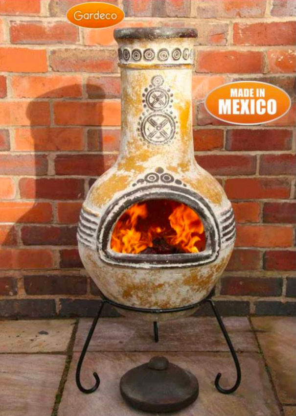 Large Azteca Yellow Mexican Clay Chimenea Fireplace 163 99