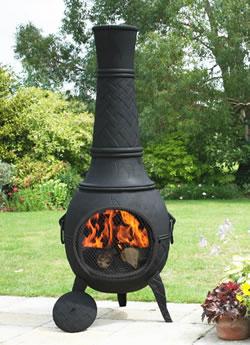 Mega cast iron chimenea in black by la hacienda at garden4less uk - La hacienda chimenea ...