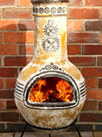 Small Image of Large Azteca Yellow Mexican Clay Chimenea Fireplace with Free Cover and Lava Rock
