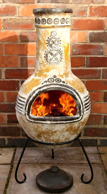 large azteca yellow mexican clay chimenea fireplace with