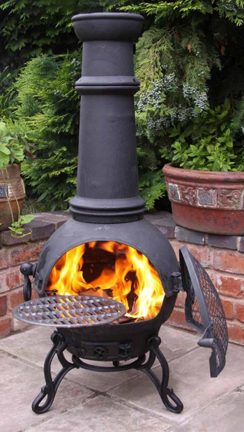 Image of Extra Large Toledo Black Cast Iron Chiminea Fireplace with BBQ grill