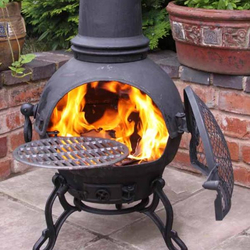Small Image of Extra Large Toledo Black Cast Iron Chimenea Fireplace with BBQ grill