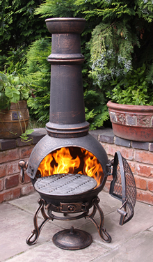 Extra Large Toledo Bronze Cast Iron Chimenea Fireplace