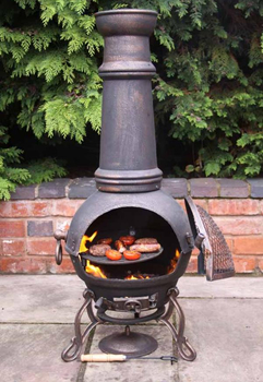 Image of Extra-Large Toledo Bronze Cast Iron Chimenea Fireplace with BBQ grill