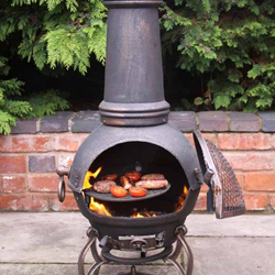 Small Image of Extra-Large Toledo Bronze Cast Iron Chimenea Fireplace with BBQ grill