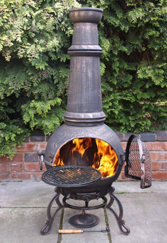 Image of Jumbo Toledo Bronze Cast Iron Chiminea Fireplace with BBQ grill
