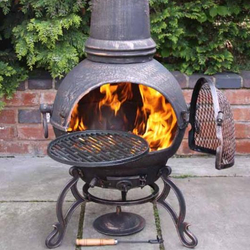 Small Image of Jumbo Toledo Bronze Cast Iron Chiminea Fireplace with BBQ grill