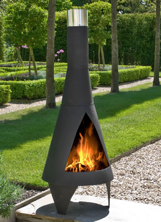 Image of Colorado Black Medium Steel Chimenea by La Hacienda