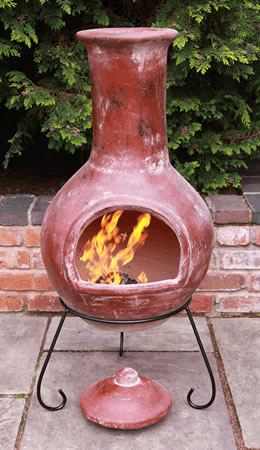 Image of Extra Large Red Colima Mexican Chimenea - With Free Lava Rock and Cover