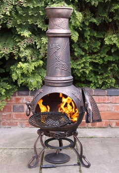 Image of Extra Large Toledo Bronze Grape Cast Iron Chiminea with Grill