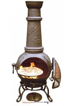 Image of Large Toledo Bronze Grape Cast Iron Chimenea Fireplace with BBQ grill