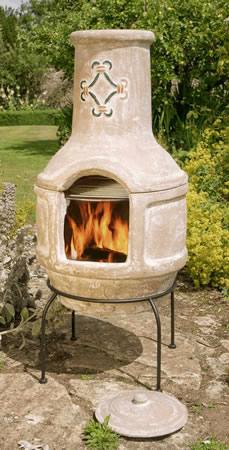 Image of Large Mexican Clay Chimenea - Spanish Scroll BBQ