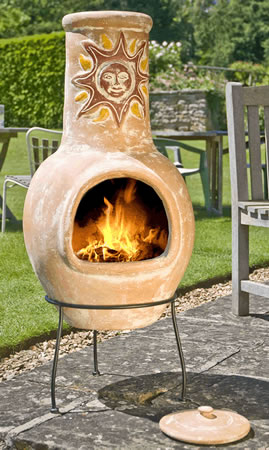 Image of Large Mexican Clay Chimenea - Sunset Yellow