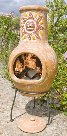 Image of Medium Clay Chimenea - Sunset Yellow