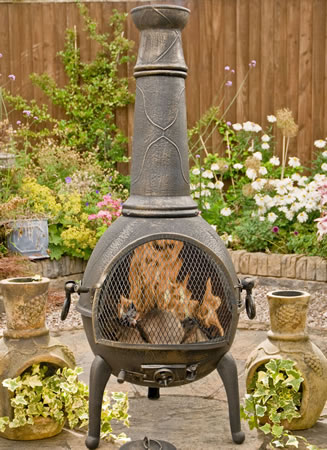 Image of Sierra Bronze Jumbo Cast Iron Chimenea Fireplace with Grill