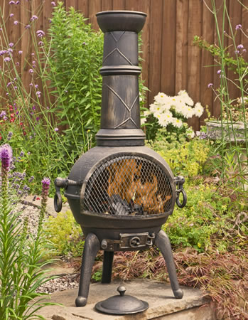 Image of Sierra Bronze Large Cast Iron Chiminea with Grill by La Hacienda